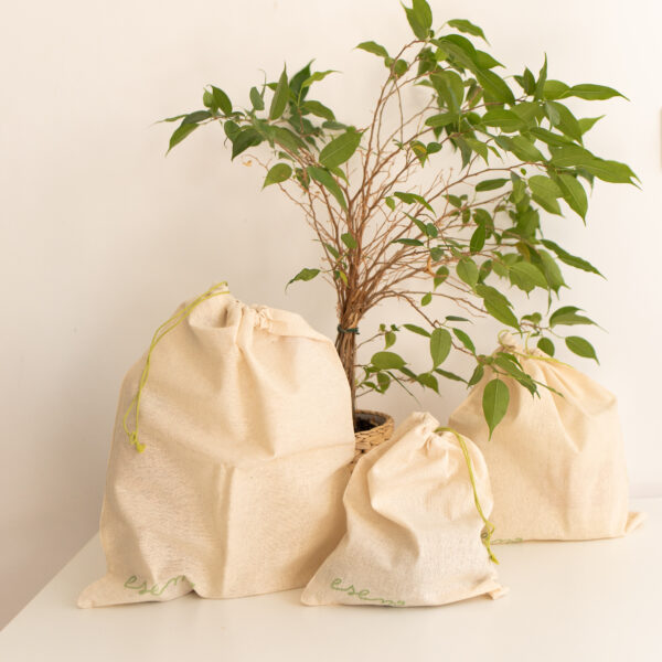3 saculeti bumbac organic pentru fructe si legume